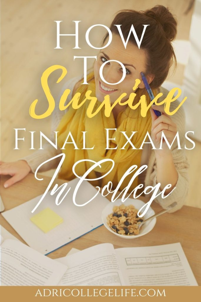 The best tips to help you survive college final exams week. College final exams are tough and sometimes you just need the extra push. Follow these tips and you will be fine! College finals survival kit, college finals motivation, college final care package, college finals study hacks.